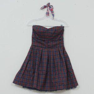 heritage 1981 Strapless Plaid + Tulle Mini Dress